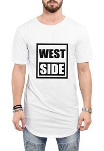 Camiseta Criativa Urbana Long Line Oversized West Side - Masculino-Branco