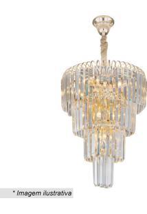 Lustre Versailles- Cristal & Dourado- 131Xø41Cm-Hevvy
