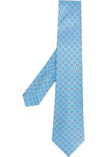 Kiton Gravata Com Padronagem Geométrica - Azul