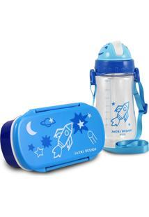 Conjunto Pote Para Lanche E Squeeze Infantil Menino Foguete Jacki Design Sapeka Azul