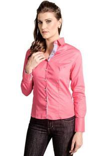 1b49c4c21 Arabescos. -1% Camisa Feminina Slim Reta Poá Carlos Brusman