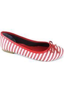 Sapatilha Bico Redondo Sapatoweb Lacinho Listras - Feminino-Vermelho+Branco