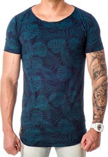 Camiseta Lucas Lunny Oversized Longline Estampa Marinho / Verde