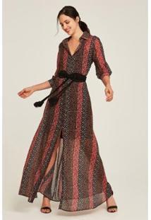 Vestido Rubinella Chemise Floral Longo Liberty Única - Feminino-Vermelho+Preto