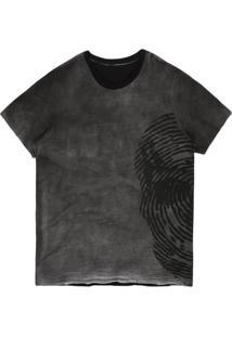 Camiseta Khelf Bolso Dupla Face Caveira Off White/Preto