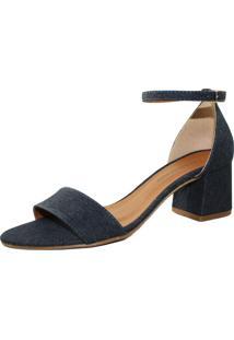 Sandália Salto Grosso Luiza Sobreira Jeans Azul Marinho Mod.4076