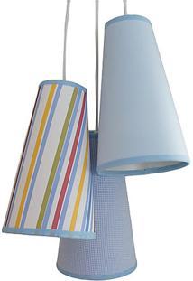 Lustre Pendente Luminária Cacho Mix Menino Crie Casa Azul E Branco