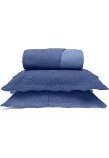 Conjunto De Colcha Metrã³Pole King Size- Azul- 3Pã§S