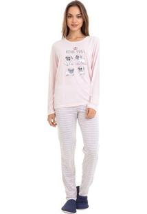 Pijama De Inverno Manga Longa Pug Feminino Luna Cuore