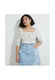 Blusa Em Tricoline Estampada Curve & Plus Size Branco