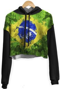 Blusa Cropped Moletom Feminina Over Fame Brasil Md01 - Preto - Feminino - Poliã©Ster - Dafiti