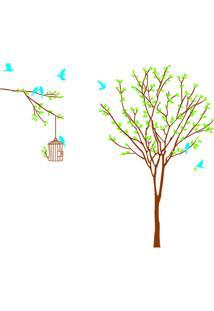 Adesivo De Parede Tree And Bird- Marrom & Verde- 60Xevolux