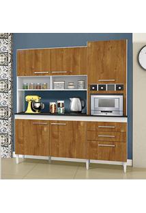 Armário De Cozinha 6 Portas 2 Gavetas Ébano Chf Branco/Caramelo