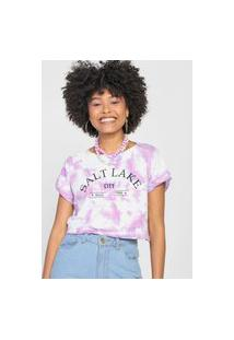 Camiseta Cropped Forever 21 Tie Dye Roxa/Branca