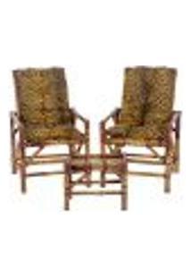 Conjunto Mesa E 2 Cadeiras De Bambu Cancun Para Área Edicula Jardim G24