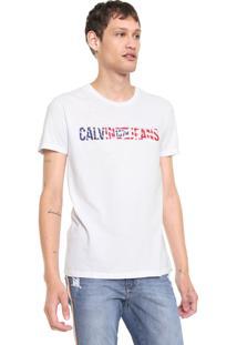 Camiseta Calvin Klein Jeans Bandeira Logo Branca