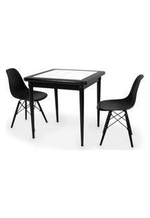 Conjunto Mesa De Jantar Em Madeira Preto Prime Com Azulejo + 2 Cadeiras Eames Eiffel - Preto