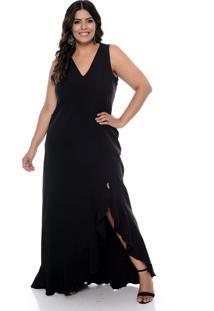 Vestido Forma Rara De Festa Plus Size Com Fenda Preto