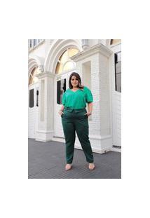 Calça Reta Almaria Plus Size Leeban Cós Com Lapela Verde