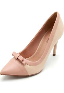 Scarpin Dafiti Shoes Laço Nude/Rosa