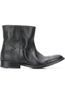 Golden Goose Ankle Boot De Couro - Preto