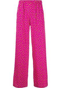 P.A.R.O.S.H. Calça Pantalona Com Estampa De Coração - Rosa