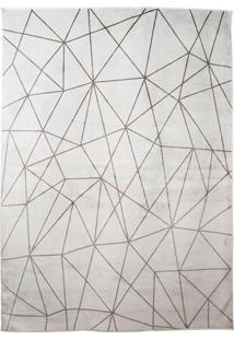 Tapete Geometric Retangular Poliéster (40X60) Cinza Claro