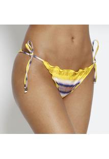Calcinha Tanga Abstrato- Amarela & Branca- Vixvix