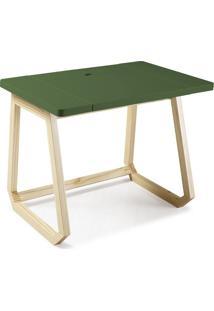 Escrivaninha Com Organizador Interno Hush 1041 Natural/Verde Musgo - Maxima