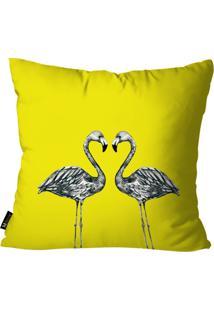 Capa Para Almofada Mdecore Flamingos Amarelo 55X55