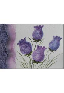 Quadro Artesanal Com Textura Botões Rosa Lilás 70X100 Uniart
