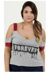 Blusa Feminina Open Shoulder Estampa Frontal Plus Size