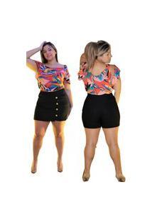 Shorts Saia Summer Body Com Botões Plus Size Preto