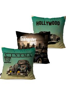 Kit Com 3 Capas Para Almofadas Pump Up Decorativas Verde Cinema Hollywood 45X45Cm