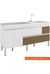 Balcão De Cozinha Prisma 3 Pt 3 Gv Branco E Carvalho