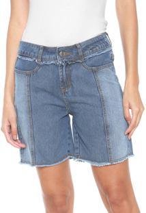 Bermuda Jeans Dzarm Recortes Azul