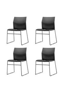 Kit 4 Cadeiras Connect Base Fixa Preta - 57596 Preto
