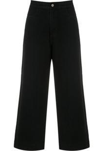 Egrey Calça Jeans Cropped - Preto