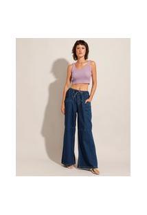 Calça Wide Pantalona Jeans Com Recorte Cintura Super Alta