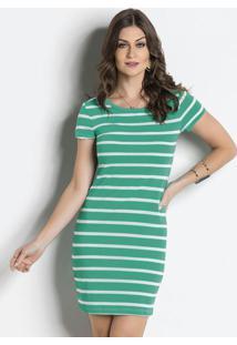Vestido Listrado Verde Com Mangas Curtas