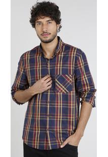 Camisa Masculina Comfort Estampada Xadrez Com Bolso Manga Longa Azul Marinho