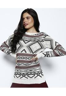 Ponto Aguiar Blusa Abstrata Em Tricã´ Off White & Preta