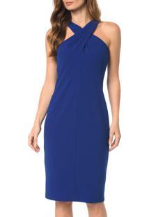 Vestido Detalhe Diagonal E Decote - 36