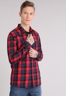 Camisa Masculina Xadrez Com Bolsos Manga Longa Vermelha