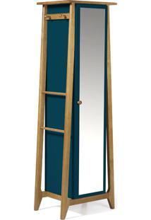 Armário Multiuso 1 Porta Stoka 981 Nogal/Azul Noite - Maxima
