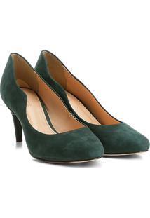 Scarpin Couro Shoestock Salto Médio Ondas - Feminino-Verde Escuro