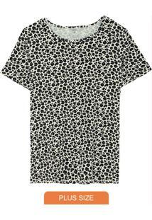 Blusa Estampada Animal Em Viscose Plus