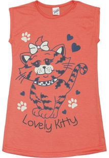 "Camisola ""Lovely Kitty"" - Coral & Azul Marinhozulai"