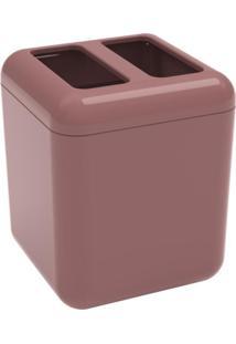 Porta-Escova Cube Com Tampa Rosa Malva Coza
