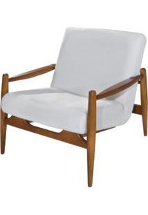 Poltrona Hand Assento Branco Base Madeira Amendoa - 62107 - Sun House